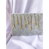 DearMe - INITIAL BAMBOO Necklace N ~ Z(S925&18k gold plating)
