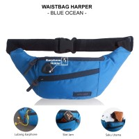 TAS SELEMPANG PRIA WAISTBAG WAISTPACK OUTDOOR WATERPROOF - HARPER BLACK