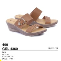 Garsel Shoes - Sandal Slipper Wedges GSL 4360 TAN