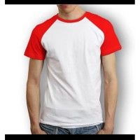 Kemeja Kasual Atasan Kaos Raglan Lengan Pendek Merah Putih R SBHA2388