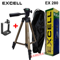 Tripod Excell EX 280 plus holder for Camdig actioncam dan Hp - DARK GOLD