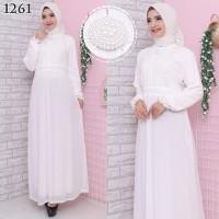 Gamis Putih Lebaran / Gamis Premium / Gamis Syari / Gamis Pesta 1261