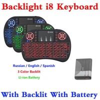 Mini I8 Keyboard Rusia Bahasa Inggris Spanish Hebrew Lampu Latar I8