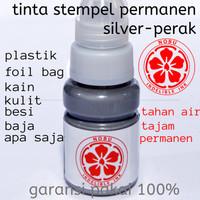 Tinta Stempel Permanen Warna Silver - Perak | Plastik - Besi Logam