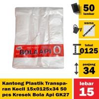 Kantong Plastik Transparan Kecil 15x0125x34 50pcs Kresek Bola Api GK27