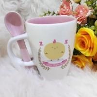 Souvenir Mug Custom/Mug Sendok/Souvenir Ultah/Mug Printing/Mug Sablon
