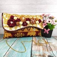 Tas anyaman pandan tapis premium / dompet clutch tapis maroon size L