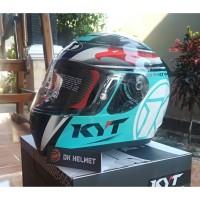 Helm Full Face KYT R-10 Aquamarine Flat Visor Warna Biru Muda Ori Asli