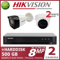 PAKET CCTV HIKVISION 8MP 4 CHANNEL 2CAMERA HDD 500GB