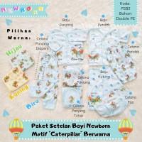 Paket Setelan Baju + Celana Bayi Newborn Motif Caterpillar Berwarna