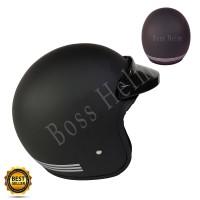 Helm Bogo list Black doff + pet (tanpa kaca)