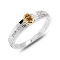 Cincin Tunangan Berlian Fancy Orange Diamond Ring 18K 0.21 crt