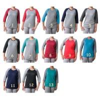 T-Shirt / Kaos Wanita -- Lapakav Kaos Raglan Cewe 3/4 Kombinasi warna