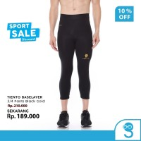 Tiento Baselayer Celana Ketat Legging Sport 3/4 Pants Black Gold Ori