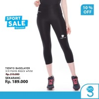Tiento Baselayer Celana Ketat Sport Leging 3/4 Pants Black White Ori