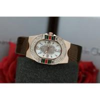 Jam Tangan Wanita Cewek Analog Gucci Premium Tali Kulit