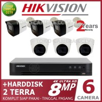PAKET CCTV HIKVISION 8MP 8 CHANNEL 6CAMERA HDD 2TB
