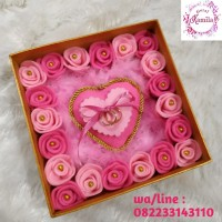 bantal cincin couple dalam kotak box untuk lamaran mahar pernikahan