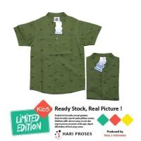 Kemeja Anak Laki-Laki Model Green Army - 3-4 tahun