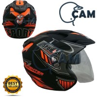 Helm 2 kaca (Double Visor) Murah Black doff Orange Sport DMN