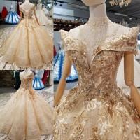 Gaun Wanita Model Off-Shoulder dengan Hiasan Renda dan Bordir Warna