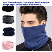 Syal Fleece Fungsi Topi Kupluk/Masker Wajah/Penghangat Leher
