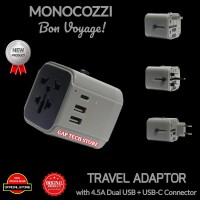 Monocozzi Travel Adaptor with 4.5A Dual USB and USB-C Connector