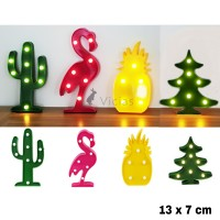 LED 01 - Dekorasi Lampu Hias LED Baterai Nanas Flamingo Kaktus - SMALL