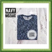 SL Kaos Navy Mozaic Fullprint Cotton Combed 30s Baju Pria Kaos Polos B