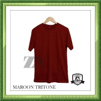 SL Baju Kaos polos Distro Maroon Tritone Original Kaos Unisex Pria dan