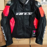 Dainese Racing 3 Leather Black Red Jacket