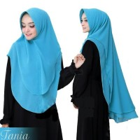 Jilbab Instan Hijab Khimar Syari Ceruti Sifon Pet Oval Tania 2 Layer