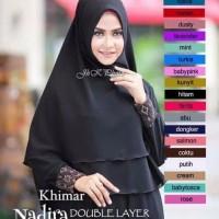 Jilbab Polos Hijab Instan Kerudung 2 Layer Non Pet Khimar Ceruti Sifon