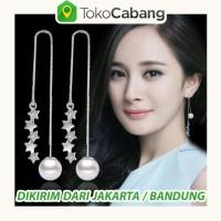 Anting Tassel Panjang Korea Silver Pesta Bintang Blink Mutiara MM508