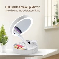 Cermin Lipat Led Make up Tools Kecantikan Mirror Foldable Kosmetik Dua