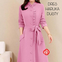 dress haruka midi jadul dusty pink