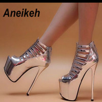 sepatu heels wanita berpayet platform silver
