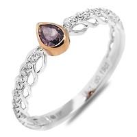 Fancy Purple Diamond Ring Pear 18 K