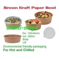 tempat makanan mangkok kertas bowl paperkraft 500 ML tutup mangkuk