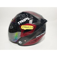 HELM GM FIGHTER MOTIF TRIPLE BLACK RED MAROON SIVER HALF FACE