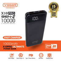 Veger X101 Gen-2 10000mAh PowerBank Real Capacity Quick Charge 3.0+PD - Hitam