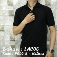 POLO SHIRT 6 Kaos Kerah Hitam Polos Baju Pria Cowok Bahan Lacos Kaus