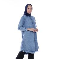 Atasan Muslim Wanita Original | Valencia Tunik Jeans| Tazkia Hijab