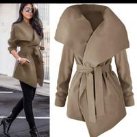 women Lapel Belt Trench Coat Elegant Lace Up