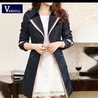 Vangull 2019 Fashion Women thin trench Coat turm down