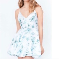 Silence + Noise Hologram Fit + Flare Mini Dress Lyst Mint Floral Dress