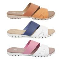Dr. Kevin Women Flat Sandals 57026 3 Options - Tan Blue Pink