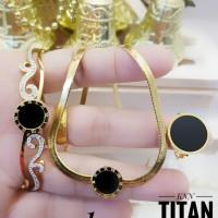 Titanium perhiasan set lapis emas 18k 278