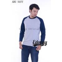 Edoeyy Raglan Lengan Panjang Abu Navy Baju Raglan Reglan Polos Kaos Re