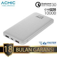 (White Carbon) Acmic C10Pro 10.000mAh Quick Charge 3.0 Powerbank